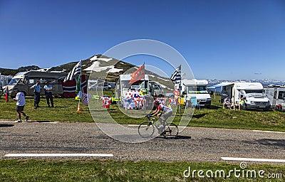 Amateur Cyclist on the Road of Le Tour de France Editorial Image