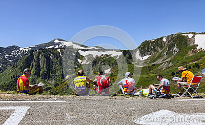 Amateur Cyclists on Col de Pailheres Editorial Photo