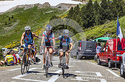 Amateur Cyclists in Pyrenees Mountains Editorial Photography