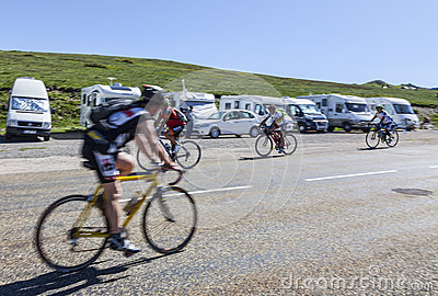 Amateur Cyclists on the Road to Col de Pailheres Editorial Photography