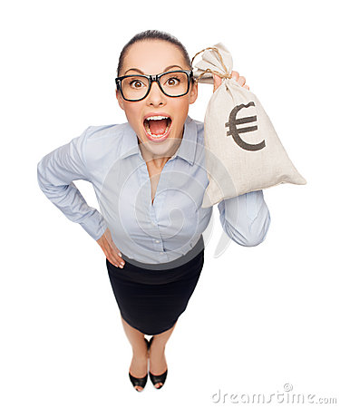 Amazed businesswoman holding money bag with euro