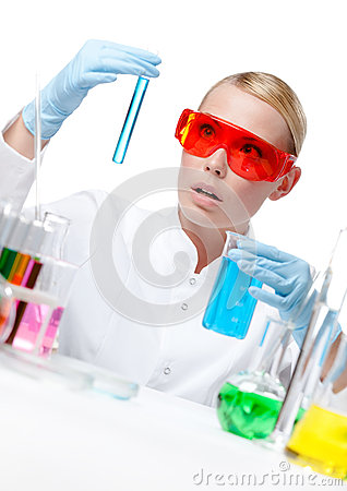 Amazed female doctor does experiment