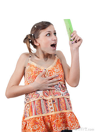 Amazed funny teenager looking comb over white back