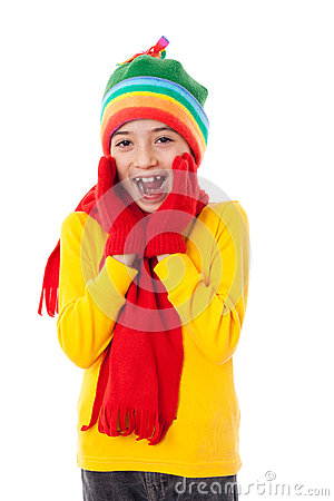 Amazed girl in winter clothes