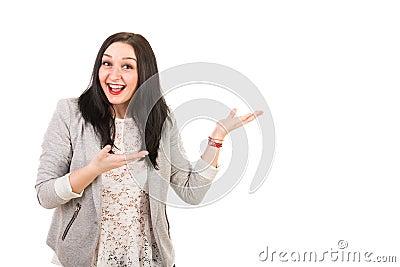 Amazed happy woman make presentation