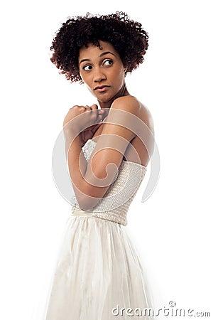 Amazed lady looking backwards intently