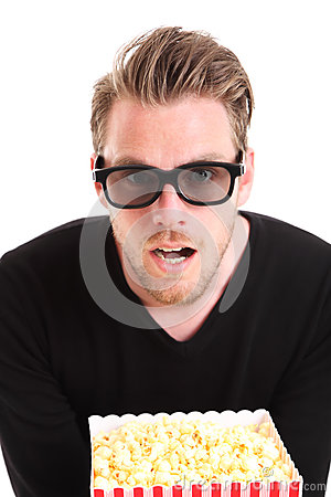 Amazed man in 3D-glasses
