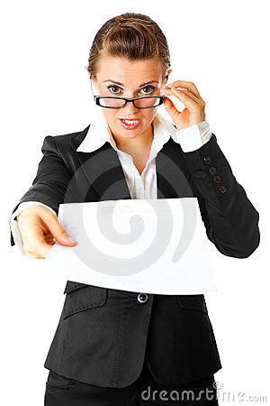 Amazed modern business woman giving document
