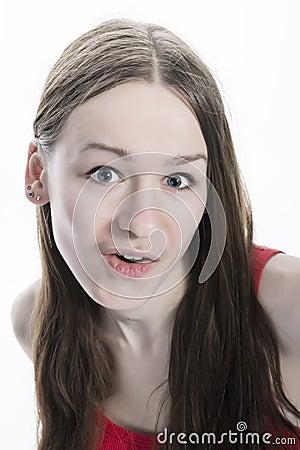 Amazed natural looking teen girl