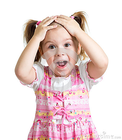 Free Amazed Or Surprised Child Girl Hands Holding Head Isolated Royalty Free Stock Photography - 67085837