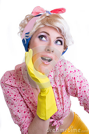 Amazed pinup woman