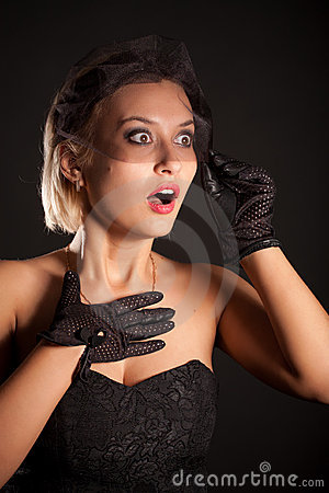 Amazed retro-style woman in black dress, veill