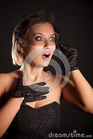 Amazed retro-style woman in black dress, veill