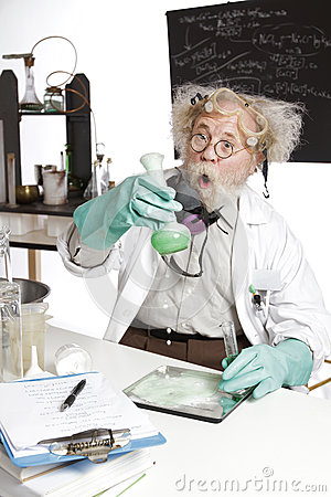 Amazed senior scientist with foaming beaker