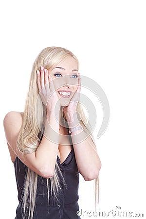 Amazed smiling woman