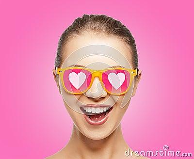 Amazed teen girl in sunglasses