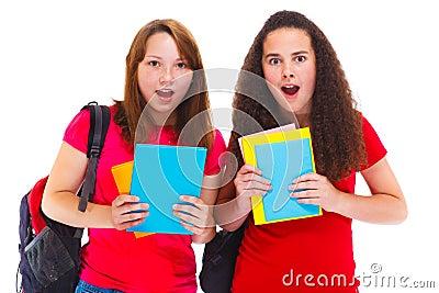 Amazed teenage girls