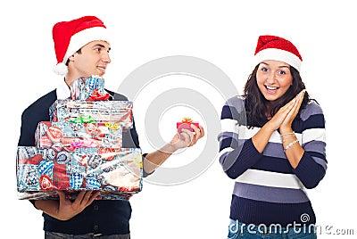 Amazed woman of her boyfriend Christmas gift