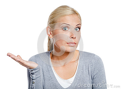 Amazed woman with her palm up