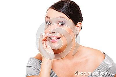 Amazed woman telling gossip