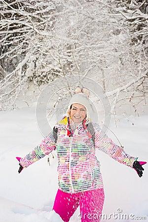 Free Amazed Woman Throw Snow Stock Photo - 84072810