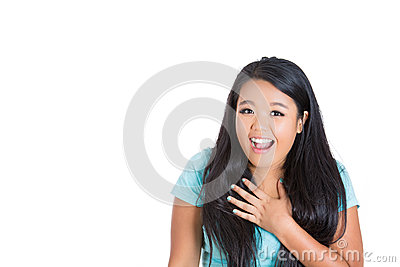 An amazed young woman