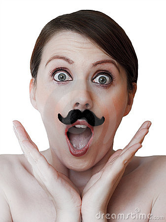 Amazed young woman with moustache; isolated