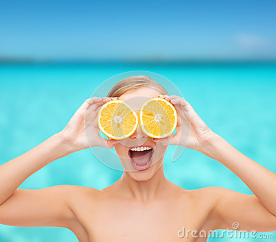Amazed young woman with orange slices