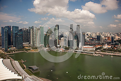 Amazing aerial city views from Singapore. Editorial Stock Photo