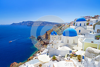 Beautiful churches of Oia town on Santorini island