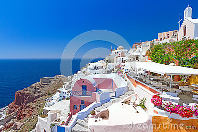 Architecture of Oia village on Santorini island