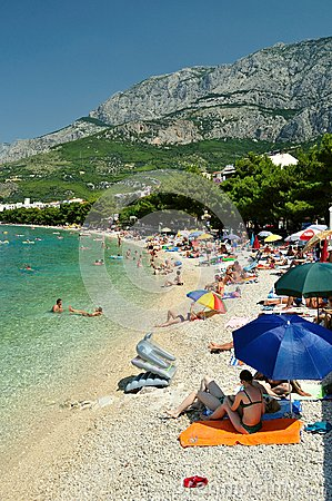 Amazing beach with people in Tucepi, Croatia Editorial Photography