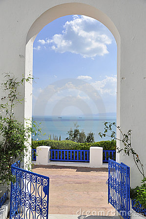 Amazing blue fence and arcade of sidi bou said