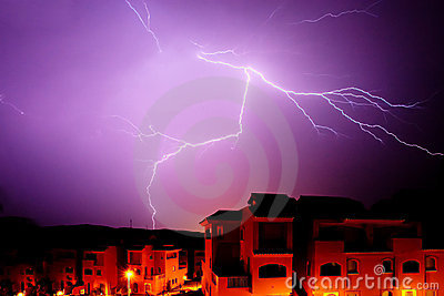 Amazing bolt of lightening at night in Spain