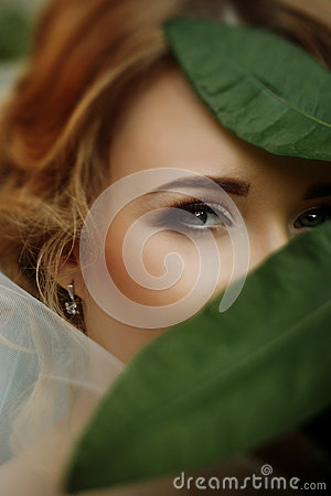 Free Amazing Bride Portrait With Green Leaves And Sensual Eye Look. E Royalty Free Stock Image - 90020926