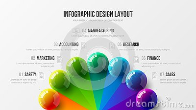 Amazing business infographic presentation vector 3D colorful balls illustration. Marketing analytics data report design layout. Vector Illustration