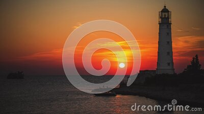 Amazing colourful time lapse sunset at ocean near old Lighthouse and sunken ship stock video footage