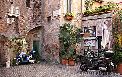 Amazing courtyard in Rome Editorial Photo