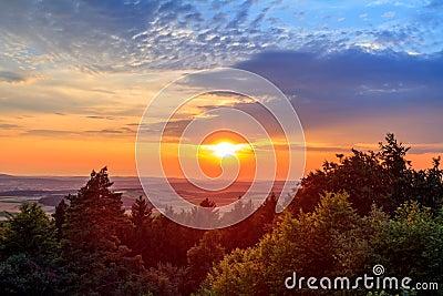 Amazing dramatic sunset in Bavaria