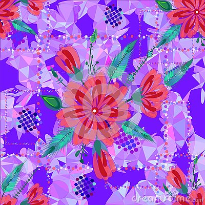 Amazing seamless floral pattern with bright colorful flowers and leaves on a blue background. The elegant the template for fashion Stock Photo