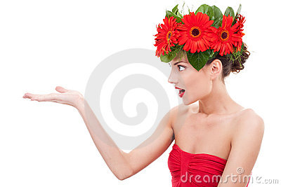 Amazing flower woman  presenting