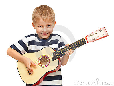 Amazing four year old boy playing guitar