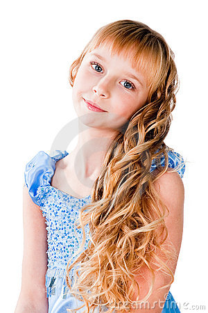 Amazing hairs teen girl isolated on white
