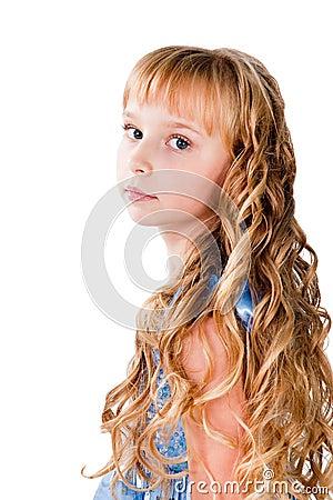 Amazing hairs teen girl isolated on white