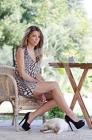 Free Amazing Leggy Women With A Dog For Companionship Royalty Free Stock Photo - 60486485