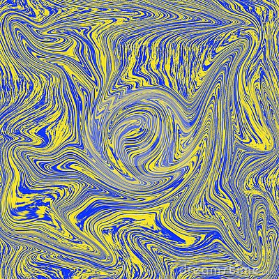 Amazing liquid marble texture is a combination of yellow and blue Cartoon Illustration