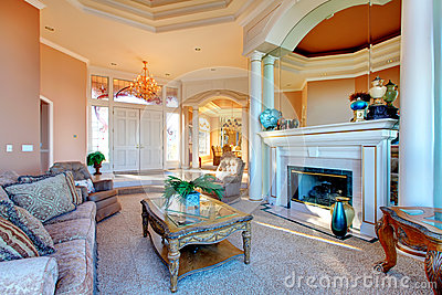 Amazing Rich Interior With Antique Furniture Royalty Free