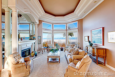 Amazing rich interior with stunning window view on mountains royalty free stock photo image - Amazing floor to ceiling windows design ...