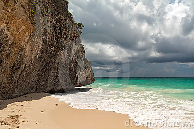 Amazing scenery of Tulum beach
