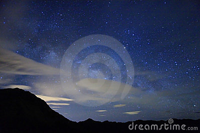 Amazing starry night accompany with mountain